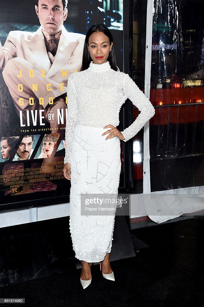 Actress Zoe Saldana arrives at the Premiere Of Warner Bros. Pictures' 'Live By Night' at TCL Chinese Theatre on January 9, 2017 in Hollywood, California.