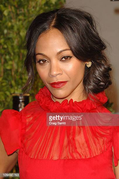 Actress Zoe Saldana arrives at the Vanity Fair Oscar party hosted by Graydon Carter held at Sunset Tower on February 27 2011 in West Hollywood...