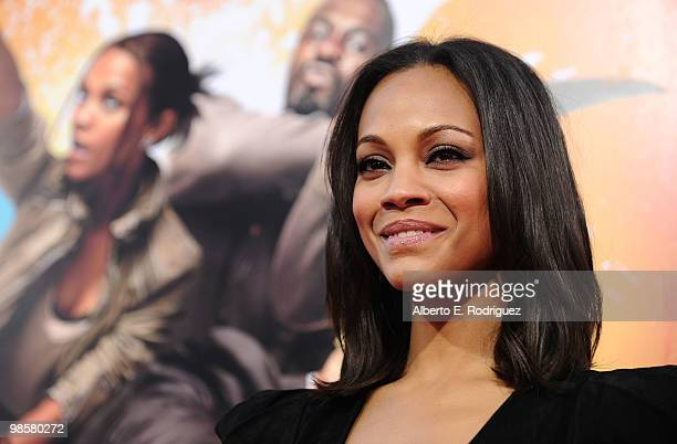 Actress Zoe Saldana arrives at Warner Bros The Losers premiere at Grauman's Chinese Theatre on April 20 2010 in Los Angeles California