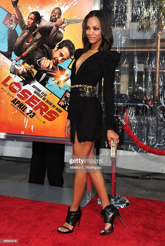 Actress Zoe Saldana arrives at Warner Bros. 'The Losers' premiere at Grauman's Chinese Theatre on April 20, 2010 in Los Angeles, California.
