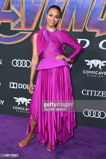 US actress Zoe Saldana arrives for the World premiere of Marvel Studios' Avengers Endgame at the Los Angeles Convention Center on April 22 2019 in...