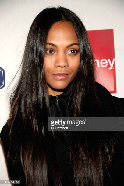 Actress Zoe Saldana arrives to JCPenney's American Living Launch Party at Skylight on February 19, 2008 in New York City.