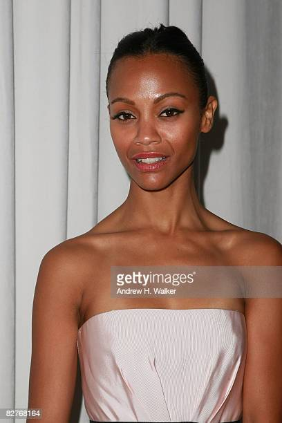 Actress Zoe Saldana at Moet Chandon At Marchesa Spring 2009 at Chelsea Art Museum during MercedesBenz Fashion Week on September 10 2008 in New York...