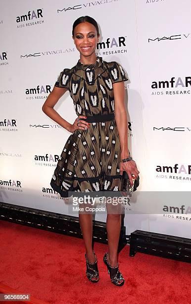 Actress Zoe Saldana attends amfAR's New York City Gala to Kick Off Fall 2010 Fashion Week at Cipriani 42nd Street on February 10, 2010 in New York...