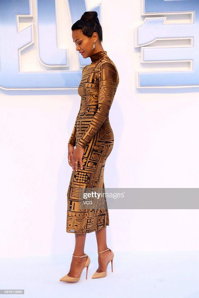 Actress Zoe Saldana Attends Star Trek Beyond Red Carpet At