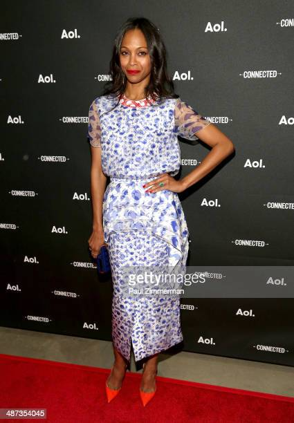 Actress Zoe Saldana attends the 2014 AOL NewFront at the Duggal Greenhouse on April 29, 2014 in the Brooklyn borough of New York City.