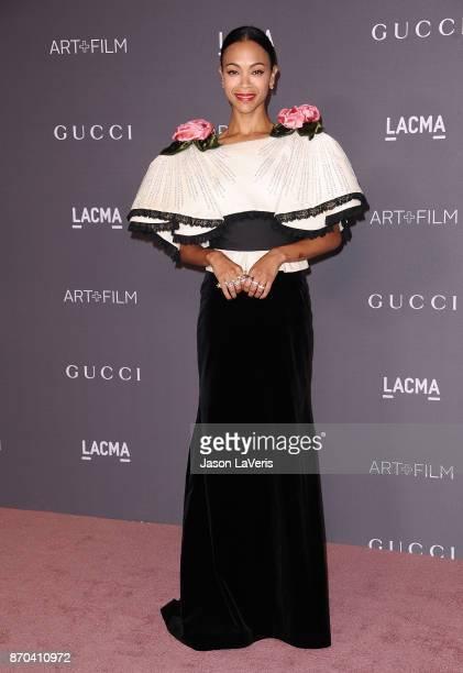 Actress Zoe Saldana attends the 2017 LACMA Art Film gala at LACMA on November 4 2017 in Los Angeles California