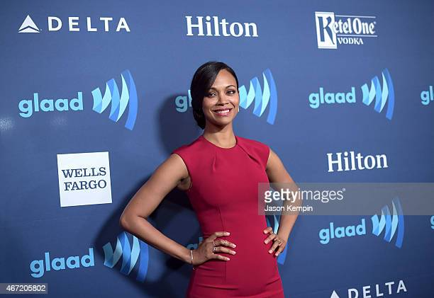 Actress Zoe Saldana attends the 26th Annual GLAAD Media Awards at The Beverly Hilton Hotel on March 21 2015 in Beverly Hills California