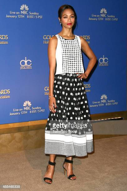 Actress Zoe Saldana attends the 71st Annual Golden Globe Awards nominations announcement on December 12 2013 in Beverly Hills California