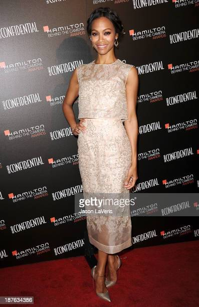 Actress Zoe Saldana attends the 7th annual Hamilton Behind The Camera Awards at The Wilshire Ebell Theatre on November 10 2013 in Los Angeles...