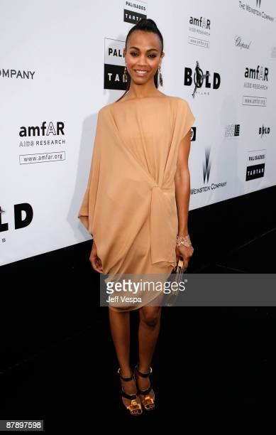Actress Zoe Saldana attends the amfAR Cinema Against AIDS 2009 benefit at the Hotel du Cap during the 62nd Annual Cannes Film Festival on May 21,...