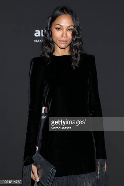 Actress Zoe Saldana attends the amfAR gala dinner at the house of collector and museum patron Eugenio López on February 5 2019 in Mexico City Mexico