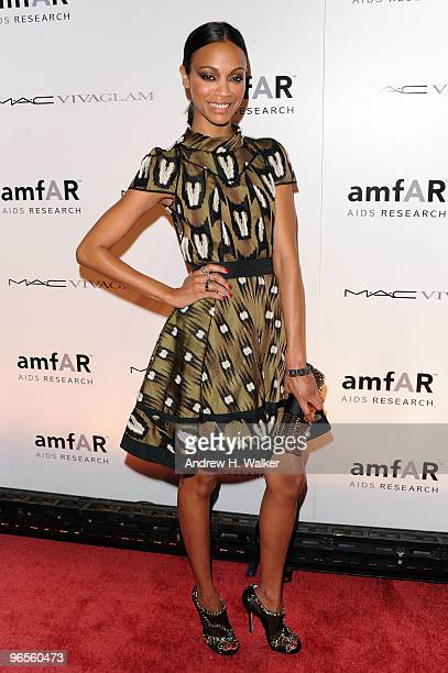 Actress Zoe Saldana attends the amfAR New York Gala cosponsored by MAC Cosmetics to Kick Off Fall 2010 Fashion Week at Cipriani 42nd Street on...