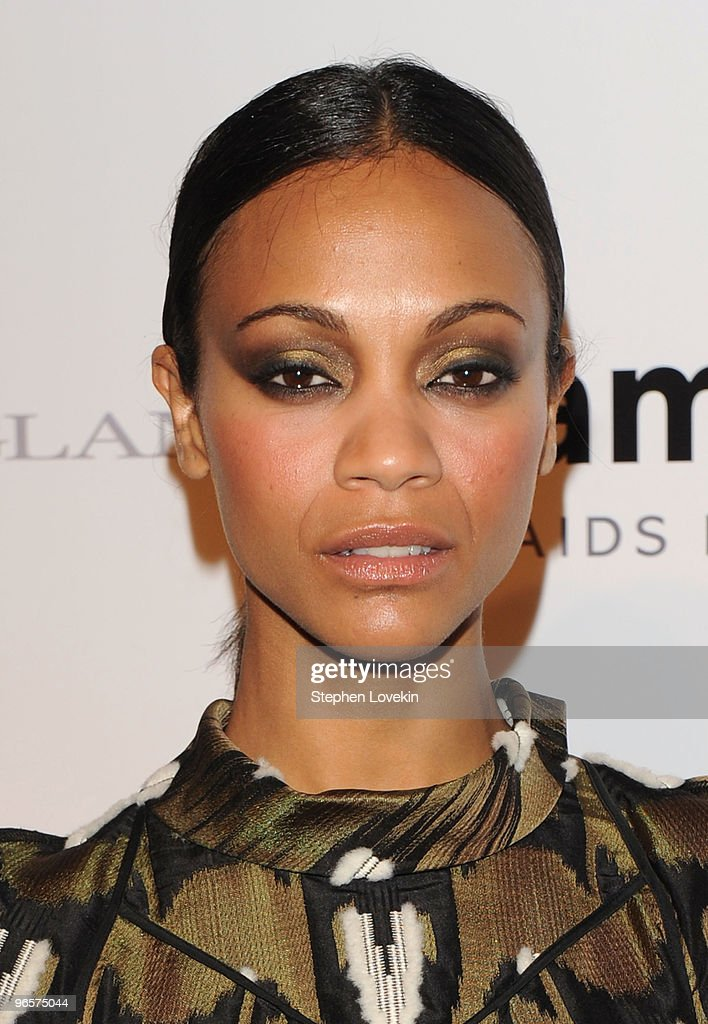 Actress Zoe Saldana attends the amfAR New York Gala co-sponsored by M.A.C Cosmetics at Cipriani 42nd Street on February 10, 2010 in New York, New York.
