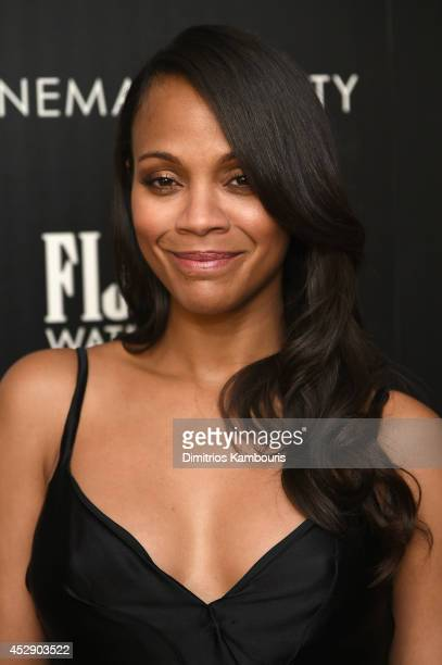 Actress Zoe Saldana attends The Cinema Society with Men's Fitness and FIJI Water special screening of Marvel's Guardians of the Galaxy at Crosby...