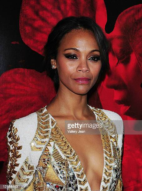 Actress Zoe Saldana attends the 'Colombiana' Miami Red Carpet Screening at Regal South Beach on August 22 2011 in Miami Florida