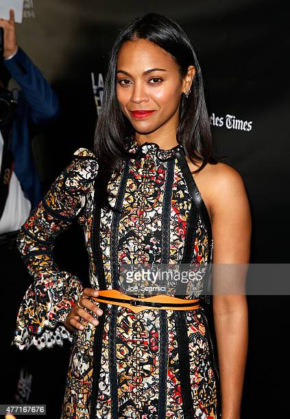 Actress Zoe Saldana attends the Infinitely Polar Bear premiere during the 2015 Los Angeles Film Festival at Regal Cinemas LA Live on June 14 2015 in...