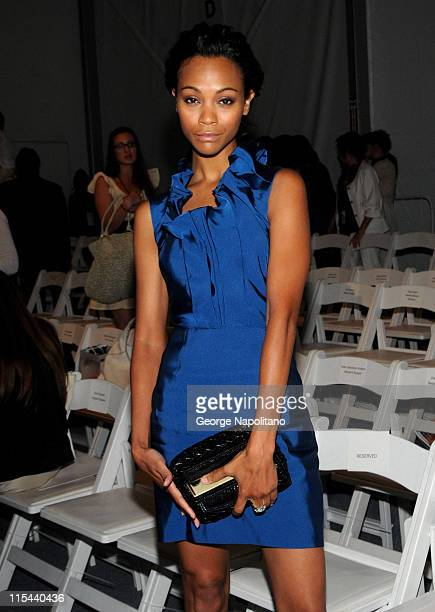Actress Zoe Saldana attends the Lela Rose Spring 2009 at The Salon in Bryant Park on September 7 2008 in New York City