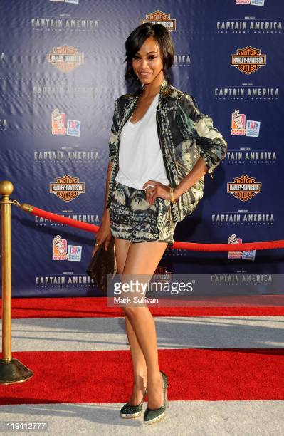 Actress Zoe Saldana attends the Los Angeles Premiere of 'Captain America The First Avenger' at the El Capitan Theatre on July 19 2011 in Hollywood...