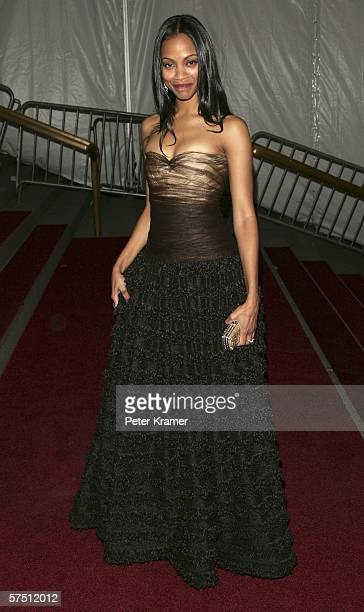 Actress Zoe Saldana attends the Metropolitan Museum of Art Costume Institute Benefit Gala 'AngloMania Tradition and Transgression in British Fashion'...