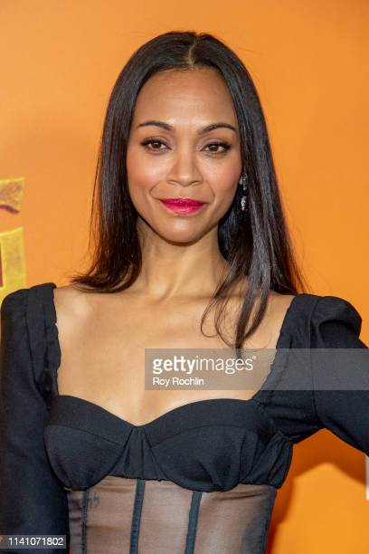 Actress Zoe Saldana attends the Missing Link New York Premiere at Regal Cinema Battery Park on April 07 2019 in New York City