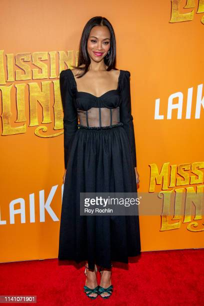 """Actress Zoe Saldana attends the """"Missing Link"""" New York Premiere at Regal Cinema Battery Park on April 07, 2019 in New York City."""