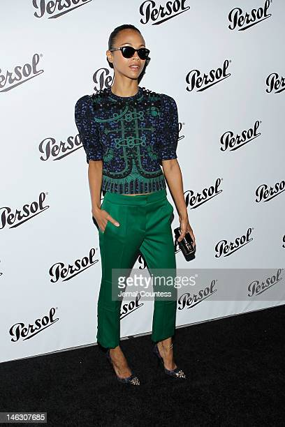Actress Zoe Saldana attends the Persol Magnificent Obsessions exhibition honoring Arianne Phillips Patricia Clarkson and Todd Haynes at the MOMI on...