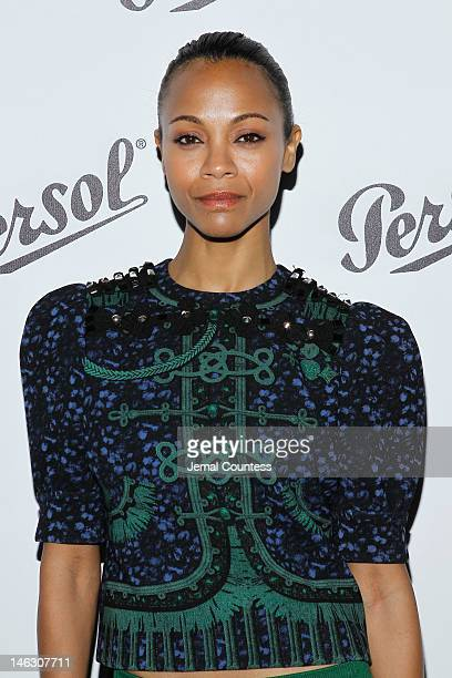 Actress Zoe Saldana attends the Persol Magnificent Obsessions exhibition honoring Arianne Phillips, Patricia Clarkson, and Todd Haynes at the MOMI on...