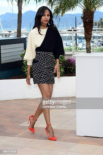 Actress Zoe Saldana attends the photocall for 'Blood Ties' during the 66th Annual Cannes Film Festival at the Palais des Festivals on May 20 2013 in...