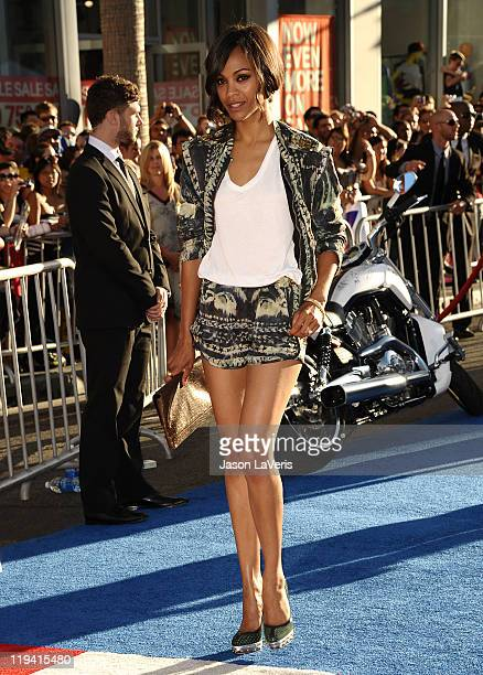 Actress Zoe Saldana attends the premiere of Captain America The First Avenger at the El Capitan Theatre on July 19 2011 in Hollywood California