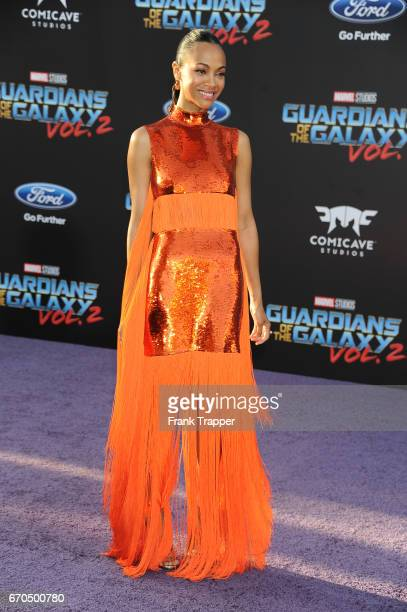Actress Zoe Saldana attends the premiere of Disney and Marvel's 'Guardians Of The Galaxy Vol 2' at the Dolby Theatre on April 19 2017 in Hollywood...