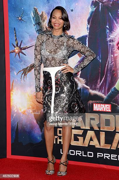 """Actress Zoe Saldana attends the premiere of Marvel's """"Guardians Of The Galaxy"""" at the Dolby Theatre on July 21, 2014 in Hollywood, California."""