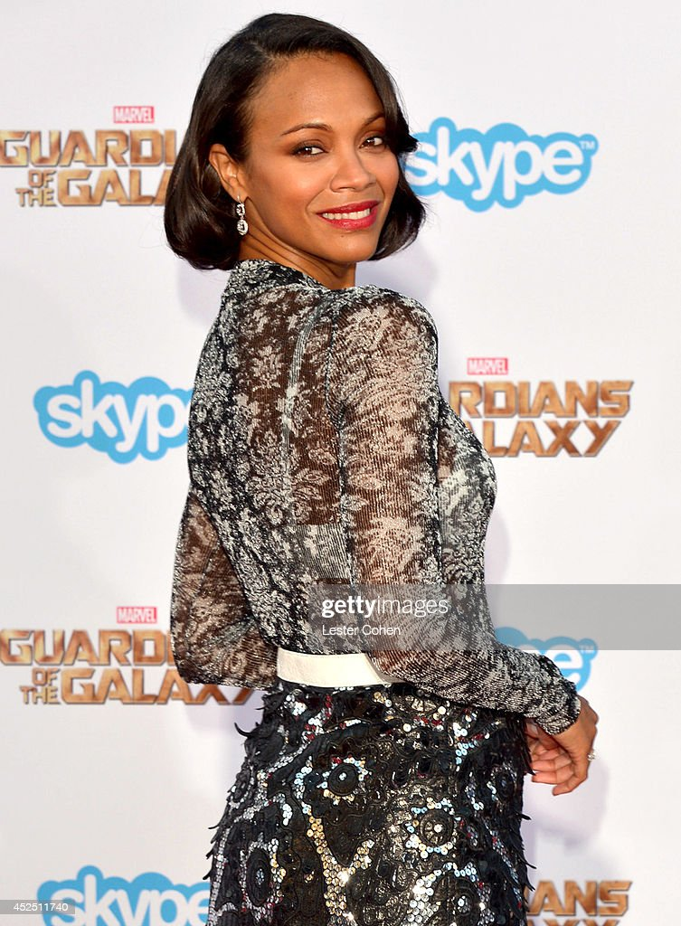 Actress Zoe Saldana attends the premiere of Marvel's 'Guardians Of The Galaxy' at the El Capitan Theatre on July 21, 2014 in Hollywood, California.