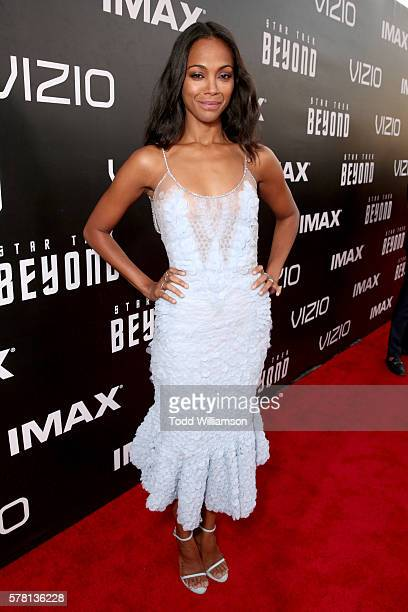 Actress Zoe Saldana attends the premiere of Paramount Pictures' 'Star Trek Beyond' at Embarcadero Marina Park South on July 20 2016 in San Diego...
