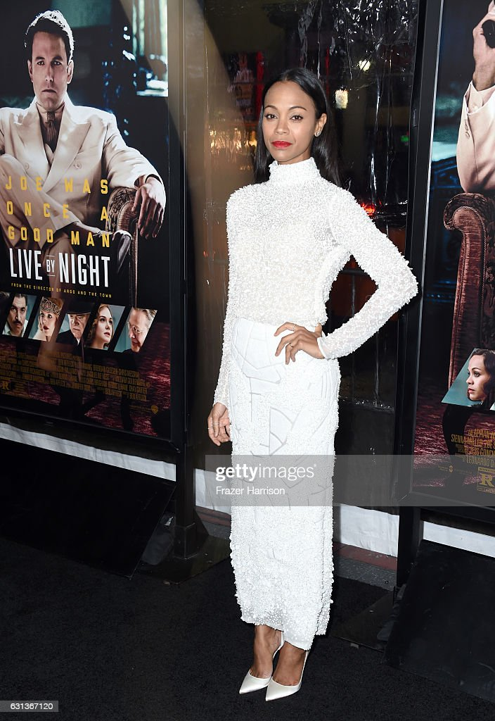 Actress Zoe Saldana attends the premiere of Warner Bros. Pictures' 'Live By Night' at TCL Chinese Theatre on January 9, 2017 in Hollywood, California.