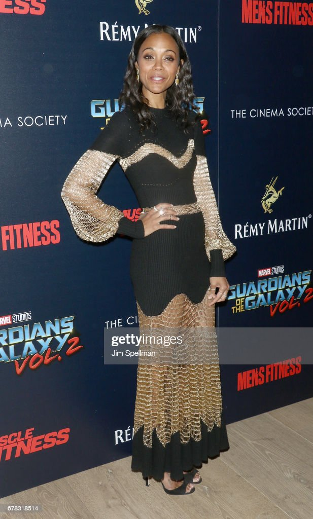 Actress Zoe Saldana attends the screening of Marvel Studios' 'Guardians Of The Galaxy Vol. 2' hosted by The Cinema Society at the Whitby Hotel on May 3, 2017 in New York City.