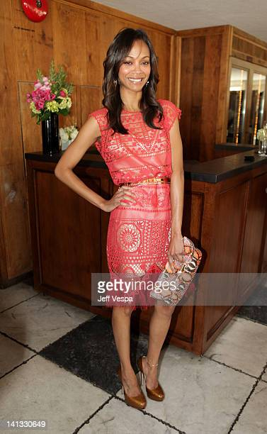 Actress Zoe Saldana attends the The Hollywood Reporter & Jimmy Choo Inaugural 25 Most Powerful Stylists Luncheon at Soho House on March 14, 2012 in...