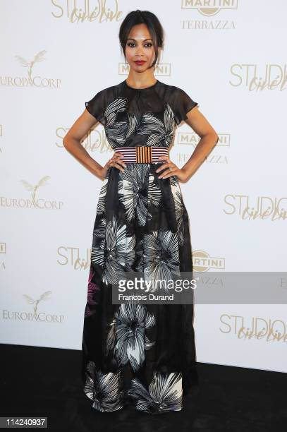 """Actress Zoe Saldana attends """"The Tree Of Life"""" party during the 64th Annual Cannes Film Festival at the Martini Terrace, Gray D'Albion Beach on May..."""