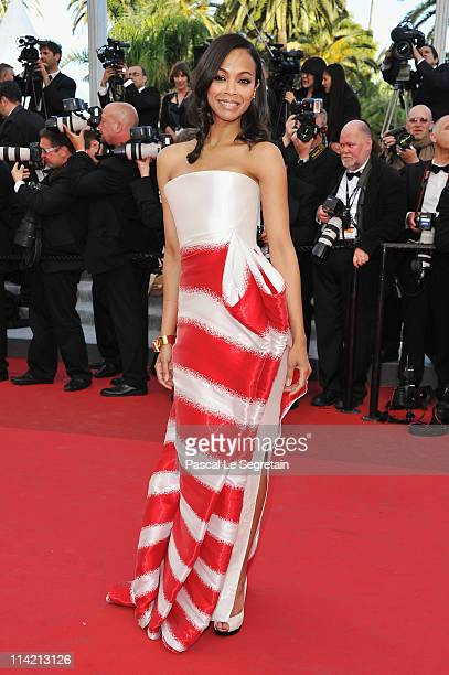Actress Zoe Saldana attends 'The Tree Of Life' premiere during the 64th Annual Cannes Film Festival at Palais des Festivals on May 16 2011 in Cannes...