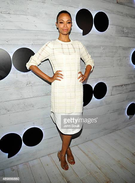 Actress Zoe Saldana attends the VIP sneak peek of the go90 Social Entertainment Platform at the Wallis Annenberg Center for the Performing Arts on...