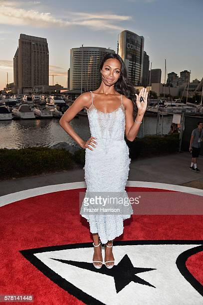 """Actress Zoe Saldana attends the world premiere of the Paramount Pictures title """"Star Trek Beyond"""" at Embarcadero Marina Park South on July 20 2016 in..."""