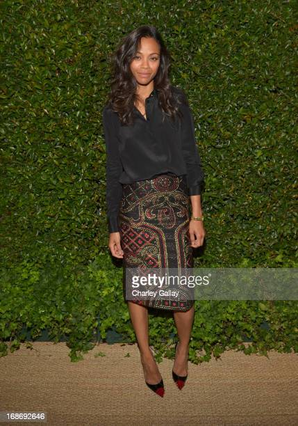 Actress Zoe Saldana attends Vogue and MAC Cosmetics dinner hosted by Lisa Love and John Demsey in honor of Prabal Gurung at the Chateau Marmont on...