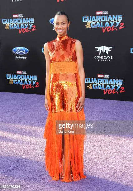 Actress Zoe Saldana attends world premiere of Disney and Marvel's' 'Guardians Of The Galaxy 2' at Dolby Theatre on April 19 2017 in Hollywood...