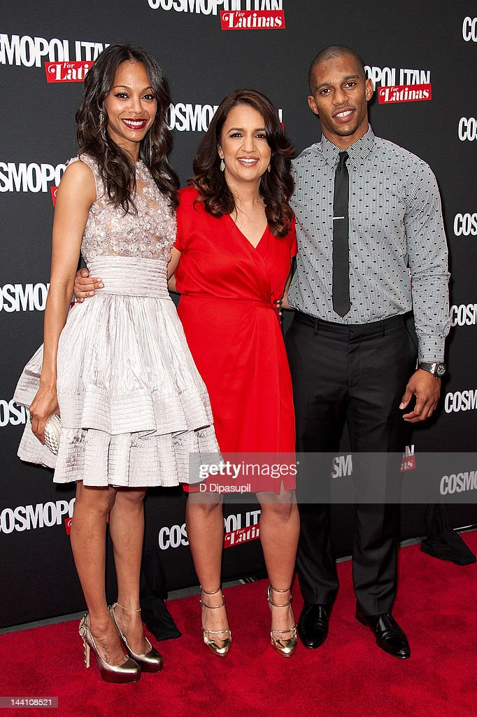 Actress Zoe Saldana, Cosmopolitan for Latinas Editor-in-Chief Michelle Herrera Mulligan, and NFL player Victor Cruz attend the Cosmopolitan For Latinas' Premiere Issue Party at Press Lounge at Ink48 on May 9, 2012 in New York City.