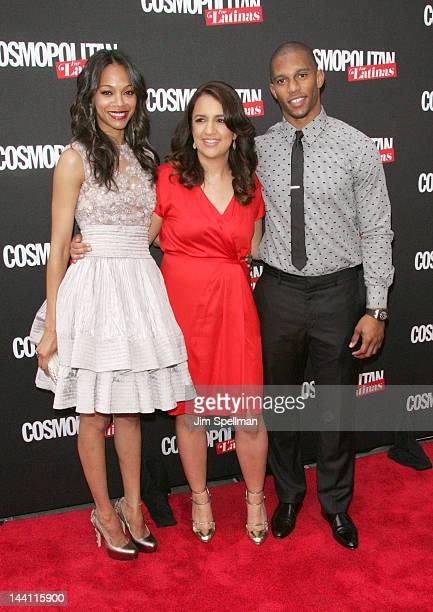 Actress Zoe Saldana, Cosmopolitan for Latinas Editor-in-Chief Michelle Herrera Mulligan, and NFL player Victor Cruz attend the Cosmopolitan For...