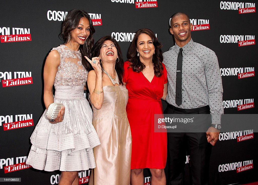 Actress Zoe Saldana, Cosmopolitan for Latinas SVP/Publishing Director Donna Kalajian Lagani, Cosmopolitan for Latinas Editor-in-Chief Michelle Herrera Mulligan, and NFL player Victor Cruz attend the Cosmopolitan For Latinas' Premiere Issue Party at Press Lounge at Ink48 on May 9, 2012 in New York City.