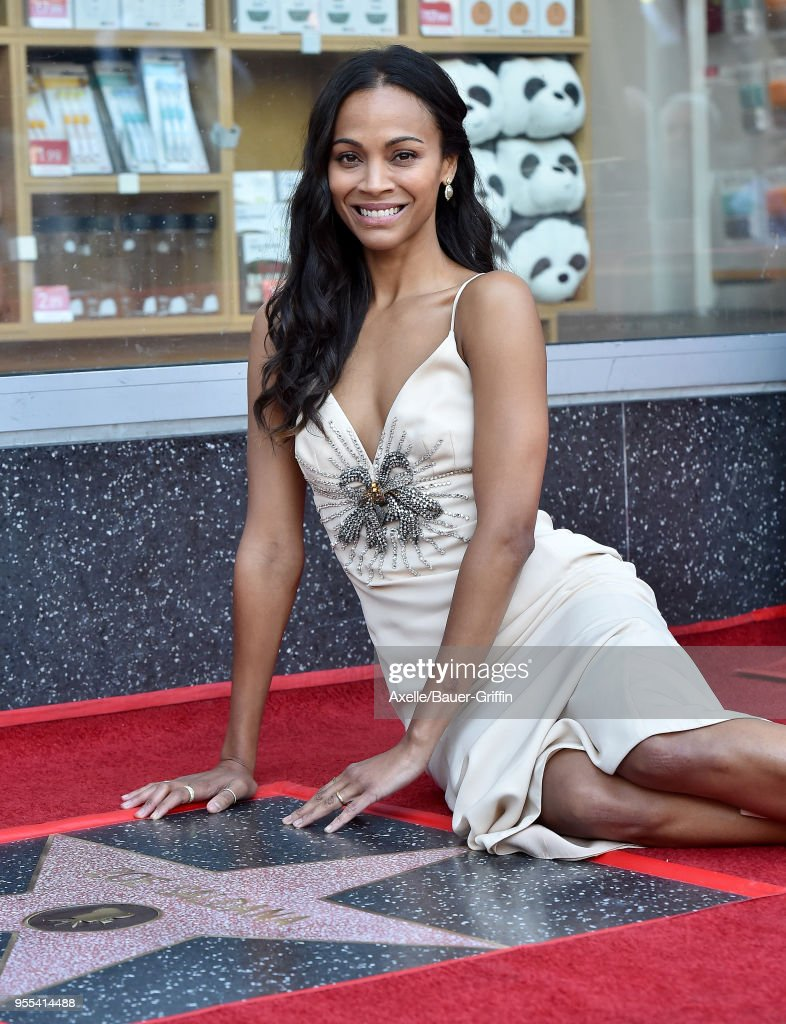 Actress Zoe Saldana is honored with star on the Hollywood Walk of Fame on May 3, 2018 in Hollywood, California.