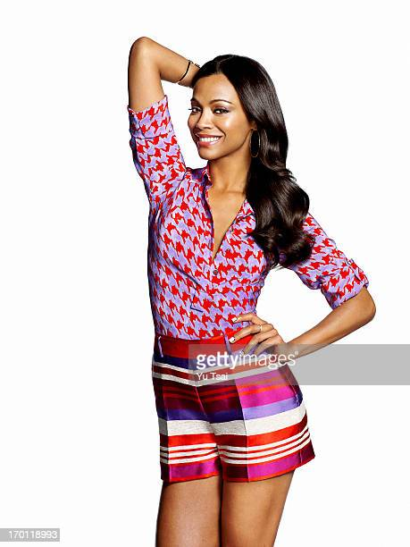 Actress Zoe Saldana is photographed for Latina Magazine on February 22 2013 in Los Angeles California COVER IMAGE