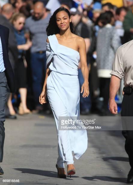 Actress Zoe Saldana is seen on April 17 2017 in Los Angeles CA