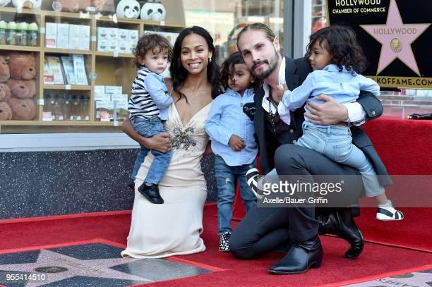 Actress Zoe Saldana, Marco Perego, Bowie Ezio Perego-Saldana, Cy Aridio Perego-Saldana and Zen Perego-Saldana attend the ceremony honoring Zoe...